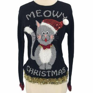 Love by Design Meowy Christmas Cat Sweater Small
